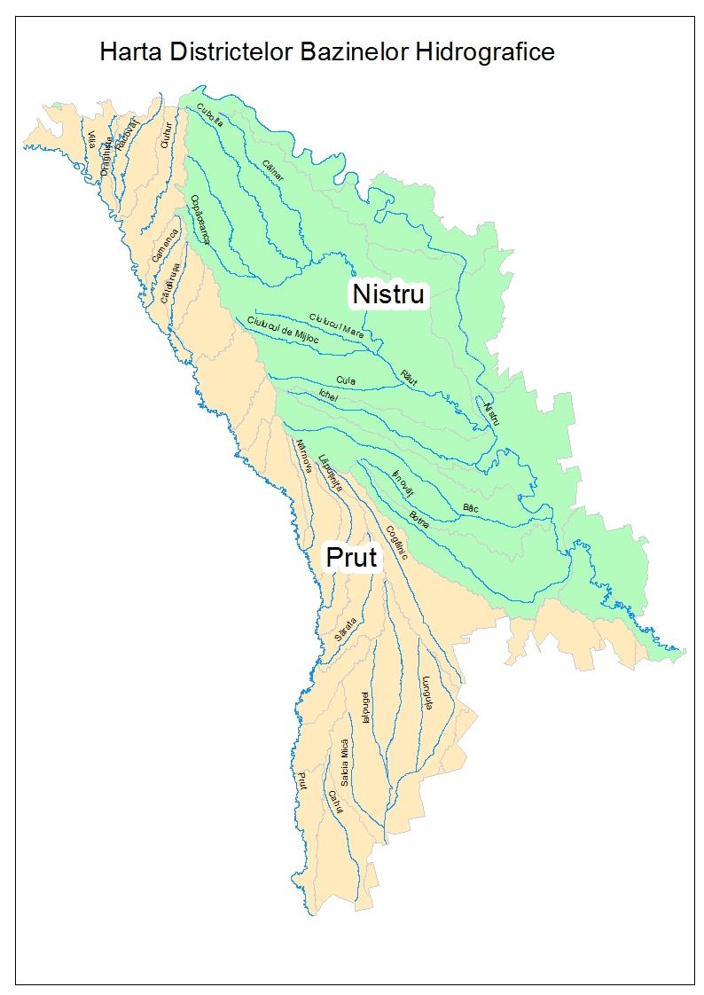 Harta Districtelor Bazinelor Hidrografice Bazine Hidrografice